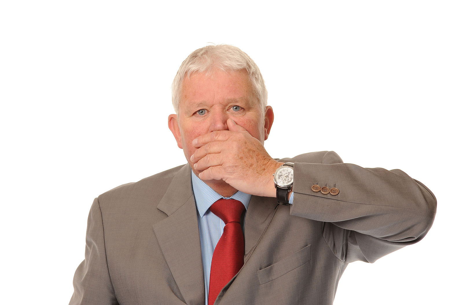 Business man covering mouth