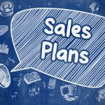 Speech bubble with sales plan written