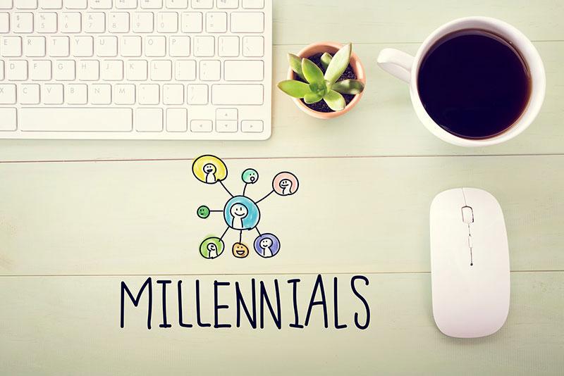 Millennials word with desk