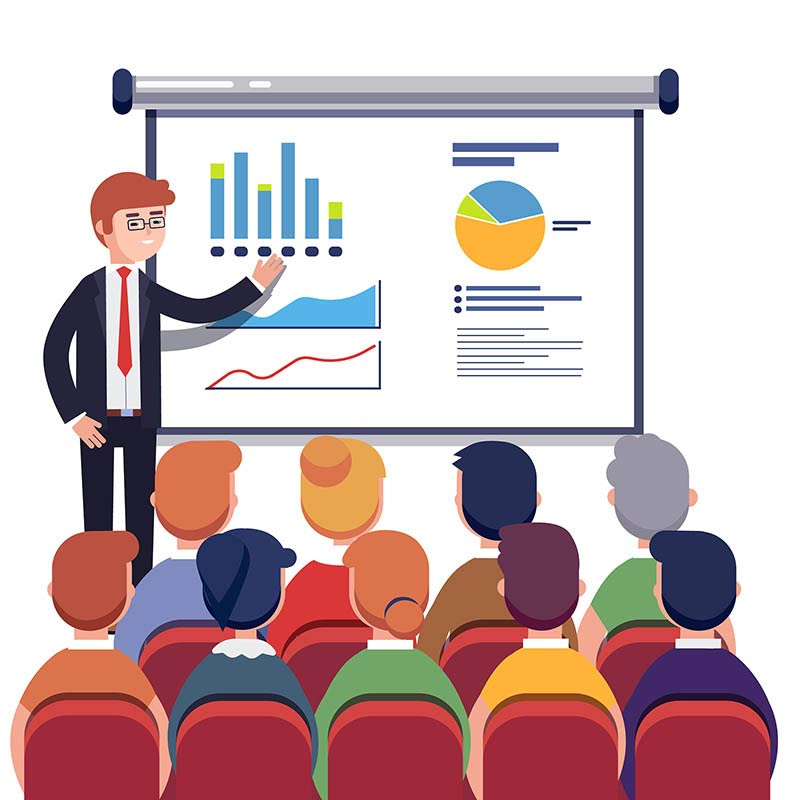 Businessman presenting marketing data on a presentation screen