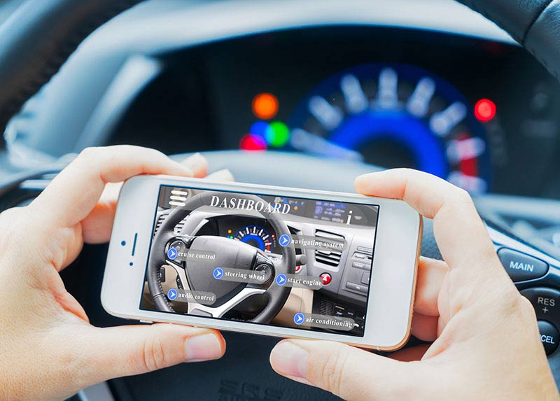 Smart Car Concept - Car Dashboard And Hands Holding Phone With A