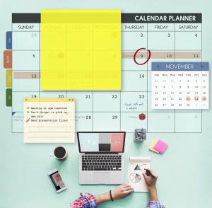 Calendar planner with organiser and notes