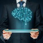 Man holding programmed digital brain