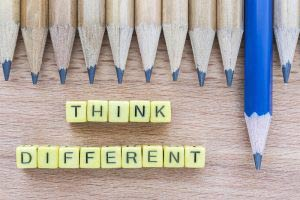 Think different blocks with pencils