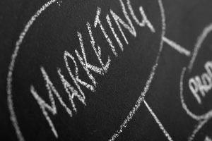 Marketing written on chalkboard