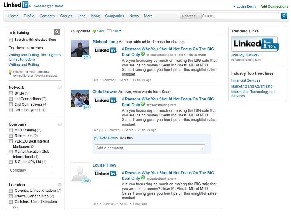 Linkedin screenshoot