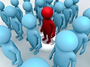red man illustration in crowd
