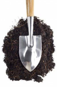 garden shovel on the ground