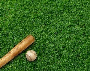 baseball ball and baseball bat on grass