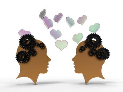 two heads with gears and hearts