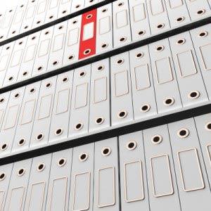 Red folder in shelf