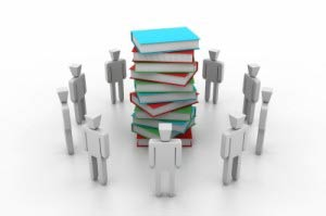 Books stack and team around