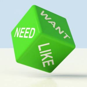 Want, need, like on green cube