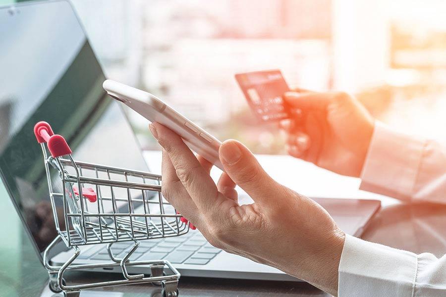 Modern buyer online shopping