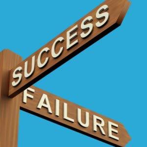 Success Failure road sign