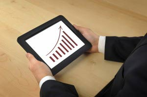 sales giagramm on tablet