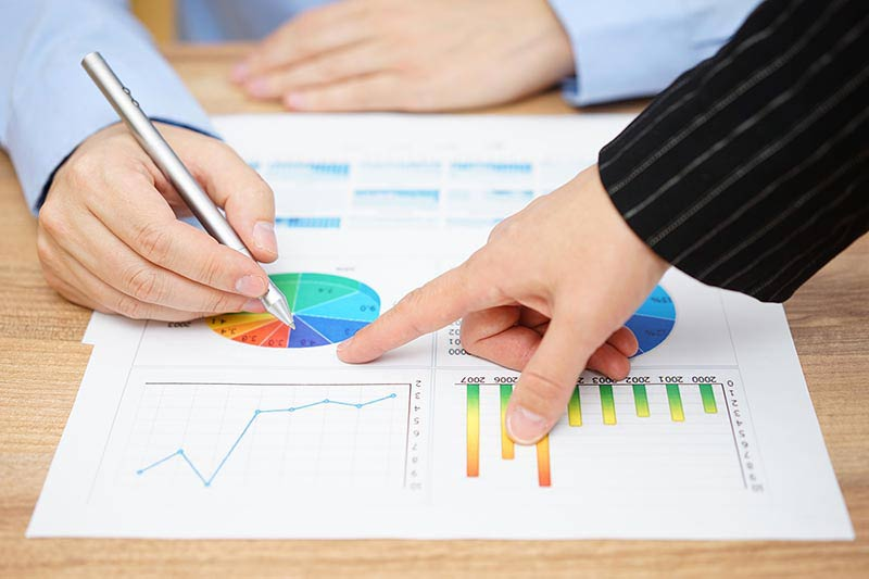 Businesswoman Showing Sales Graphs