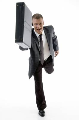 Salesman running with case