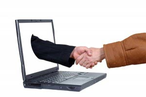 Laptop, on line business deal