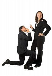 business begging man to woman
