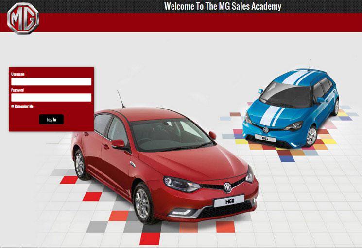 MG website screenshoot
