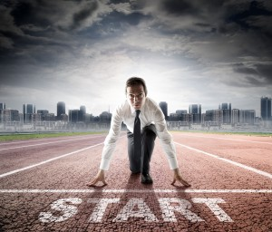 Businessman on start line