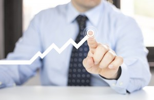 businessman with Grow graph