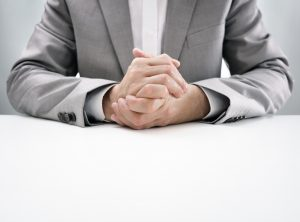 Businessman at desk in busines