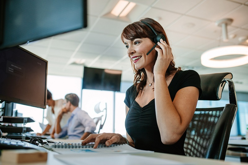 Woman in a call centre