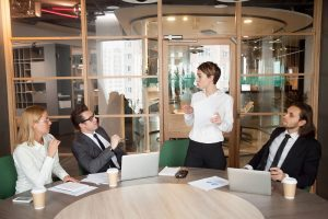Business woman conducting a meeting