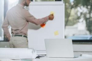 Businessman preparing meeting materials