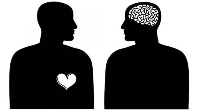 Two silhouettes with heart and brain. Logic and emotion concept.