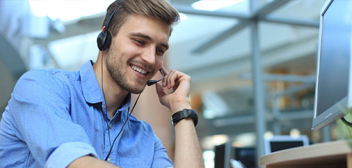 Customer service agent taking customer calls