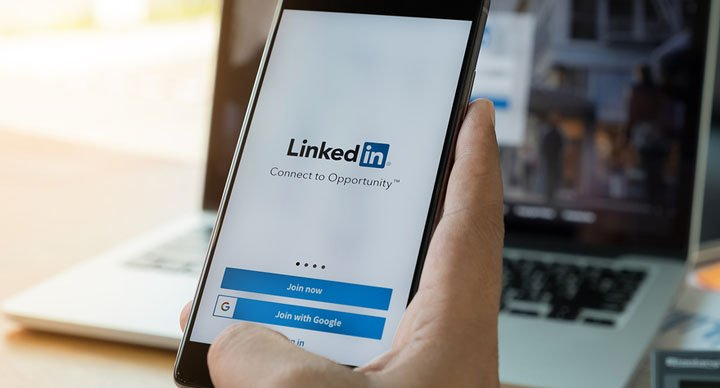 LinkedIn login screen on a smartphone