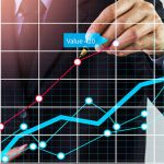 Stock market graph and business financial data on LED. Business graph and stock financial indicator. Stock or business market analysis concept.