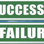 success or failure being successful in life and business road sign arrow 3D, illustration