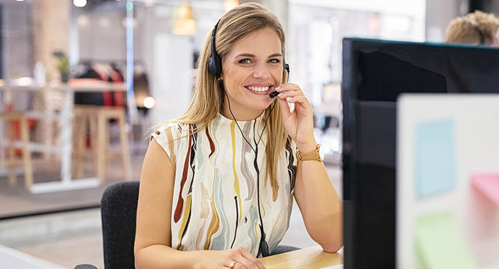 Customer service agent taking customer calls
